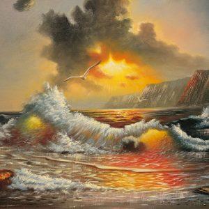 SO-70929 - Grande onda nel tramonto - L. Cruiz